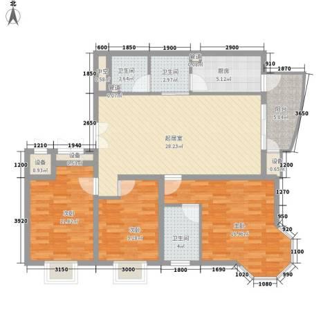迎宾小区3室0厅3卫1厨88.39㎡户型图