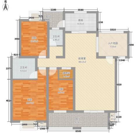 丹桂苑3室0厅2卫1厨136.00㎡户型图