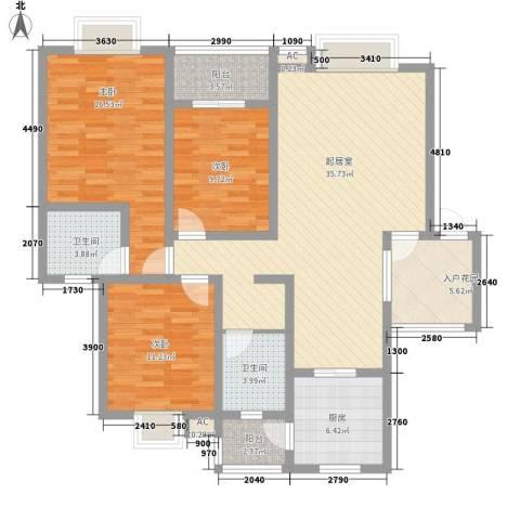 丹桂苑3室0厅2卫1厨129.00㎡户型图