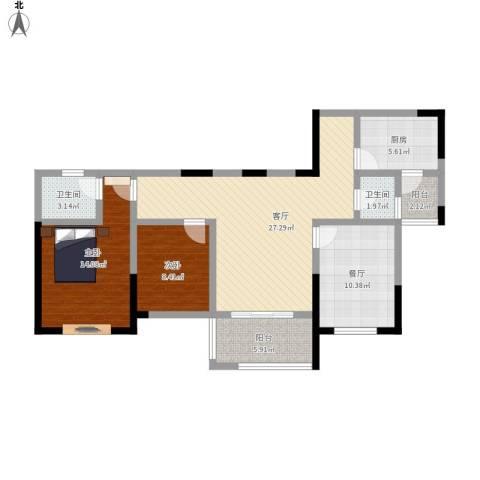 天正天御溪岸2室2厅2卫1厨116.00㎡户型图