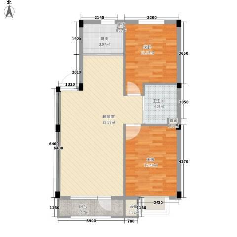 假日蓝湾2室0厅1卫1厨75.00㎡户型图