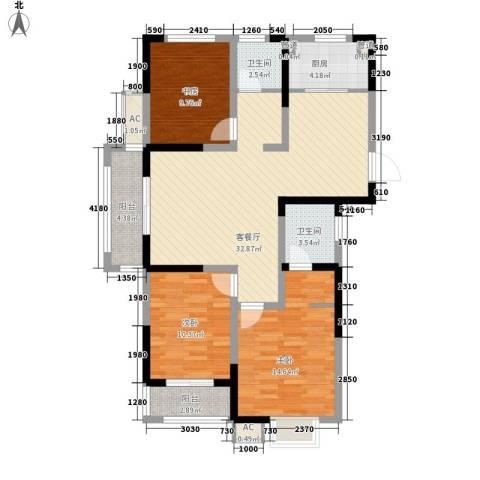 尚泽时代广场3室1厅2卫1厨116.00㎡户型图