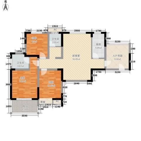 尚泽时代广场3室0厅2卫1厨115.00㎡户型图