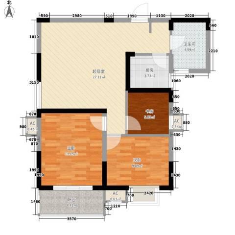 尚泽时代广场3室0厅1卫1厨91.00㎡户型图
