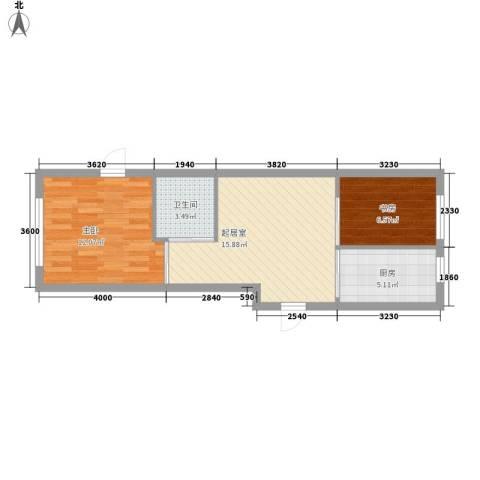青霖嘉园2室0厅1卫1厨61.00㎡户型图