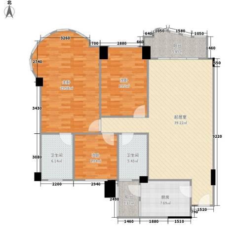 龙福花园3室0厅2卫1厨132.00㎡户型图
