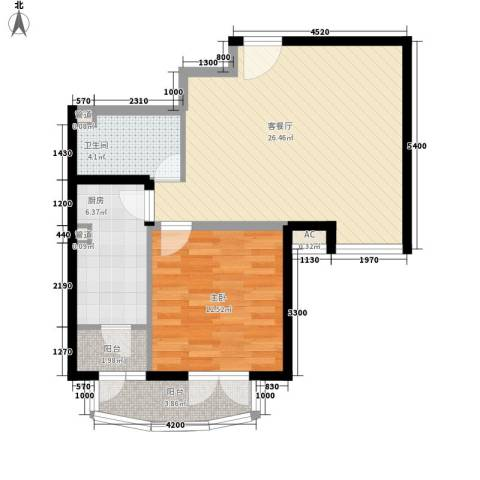 保利西山林语别墅1室1厅1卫1厨80.00㎡户型图