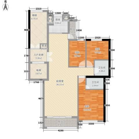 尊尚海的GOLF3室0厅2卫1厨95.30㎡户型图