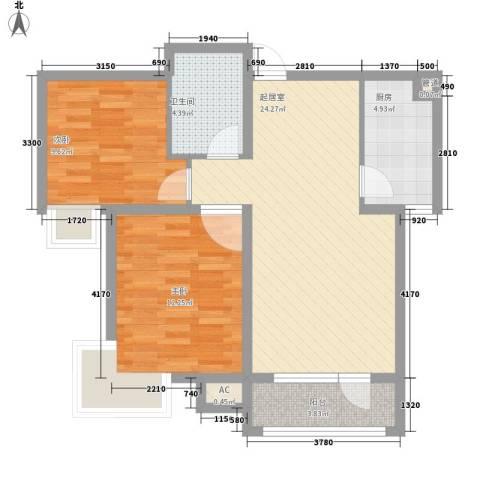 德易居2室0厅1卫1厨86.00㎡户型图