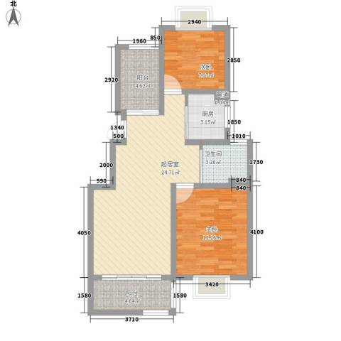 璞俪公馆2室0厅1卫1厨87.00㎡户型图