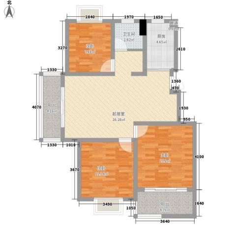 璞俪公馆3室0厅1卫1厨109.00㎡户型图