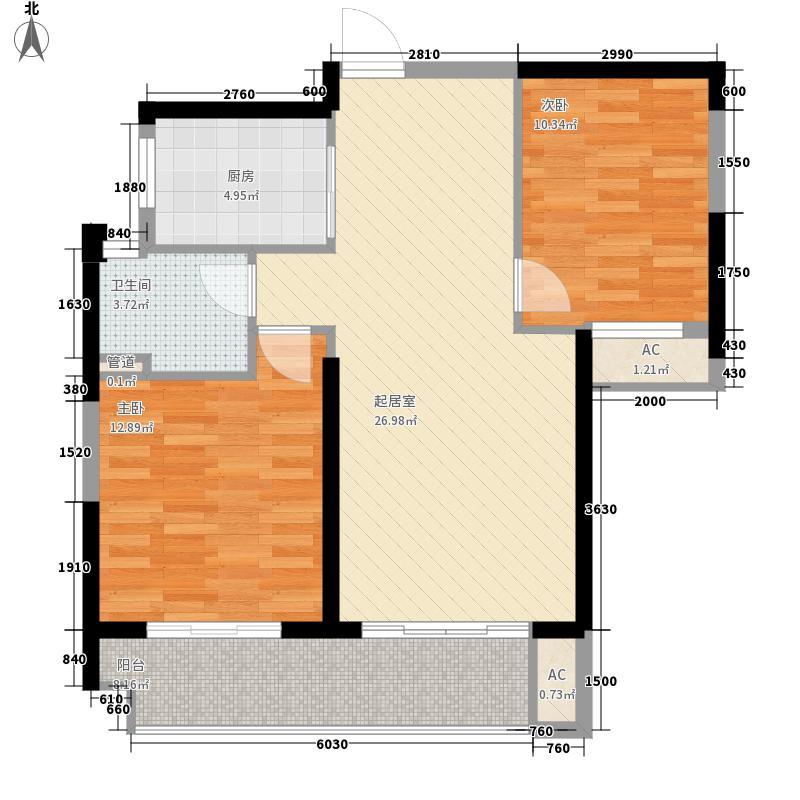 保利百合88.00㎡一期高层1#A户型2室1厅1卫1厨