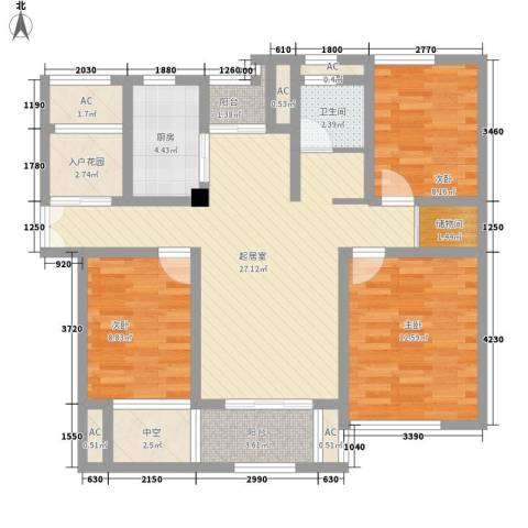 御景湾3室0厅1卫1厨120.00㎡户型图