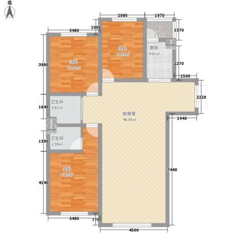 世纪馨园3室0厅2卫1厨130.00㎡户型图