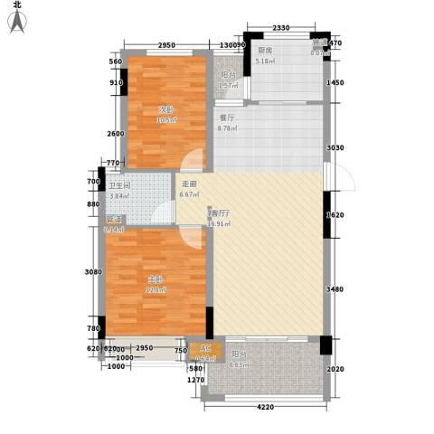 金美花园金泽台2室1厅1卫1厨86.00㎡户型图