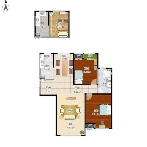 恒文星尚湾2室2厅1卫2厨131.00㎡户型图