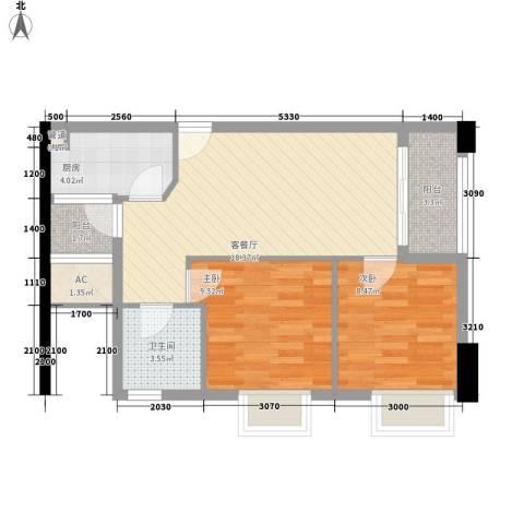 城南尚品2室1厅1卫1厨73.00㎡户型图
