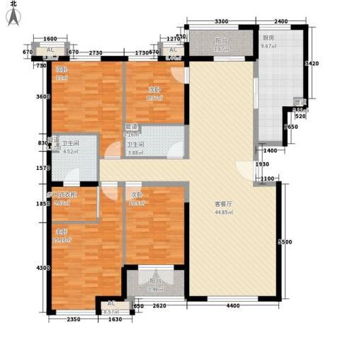 保利西山林语别墅4室1厅2卫1厨176.00㎡户型图