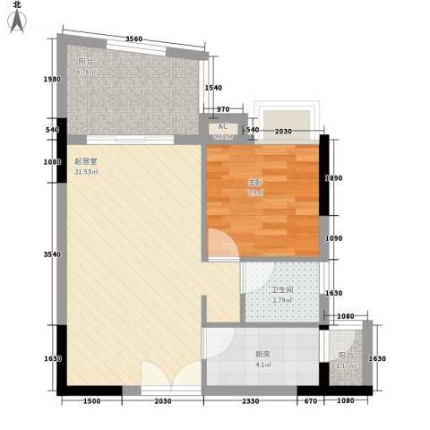 海韵假日休闲公寓1室0厅1卫1厨57.00㎡户型图