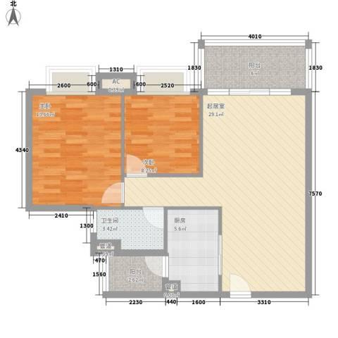 雍晟岭南首府2室0厅1卫1厨80.00㎡户型图