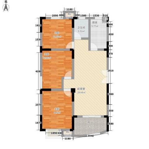 紫金山庄3室0厅1卫1厨106.00㎡户型图
