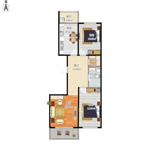 康居新城2室2厅1卫1厨92.00㎡户型图