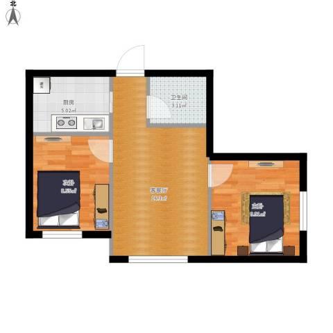 亿合城2室1厅1卫1厨74.00㎡户型图