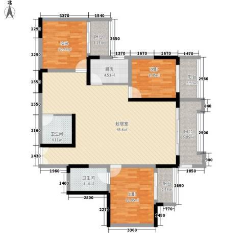 碧园花城3室0厅2卫1厨134.00㎡户型图
