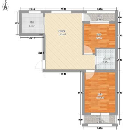 鑫展水岸2室0厅1卫1厨85.00㎡户型图