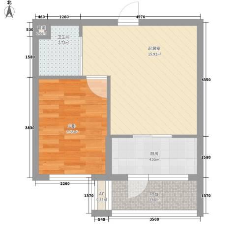 鑫展水岸1室0厅1卫1厨46.00㎡户型图