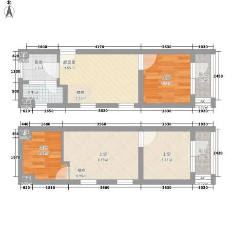 品臻国际公寓2室0厅1卫1厨66.00㎡户型图