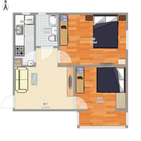 双龙小区2室1厅1卫1厨56.00㎡户型图