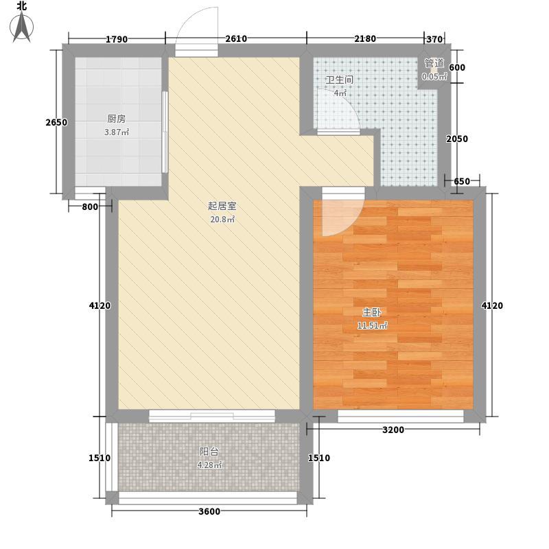 卓达香水海三期地中海岸6.70㎡A-Q-4户型1室2厅1卫1厨