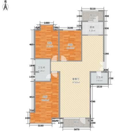 兴泰东河湾3室1厅2卫1厨164.00㎡户型图