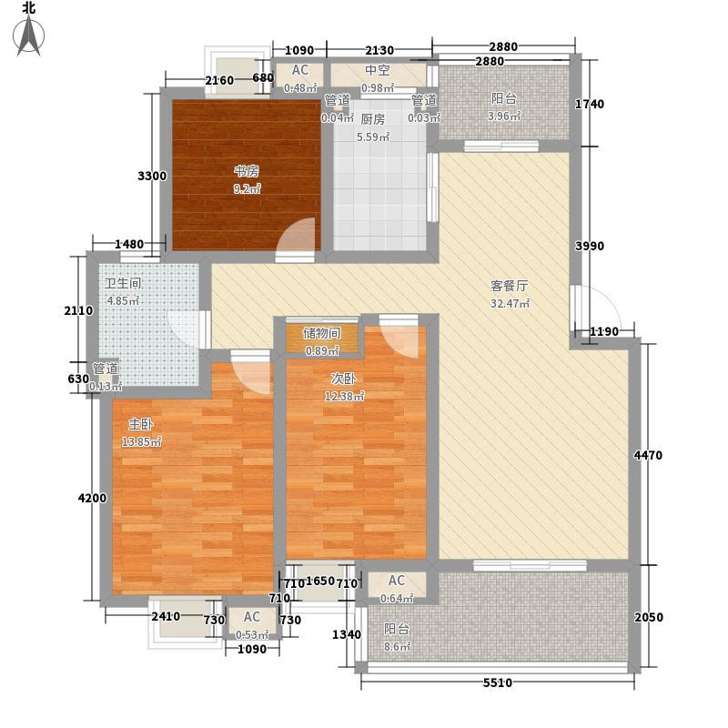 复地公园城邦110.83㎡二期B1户型3室2厅1卫