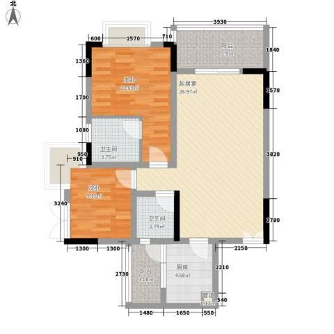 东宝楼2室0厅2卫1厨80.00㎡户型图