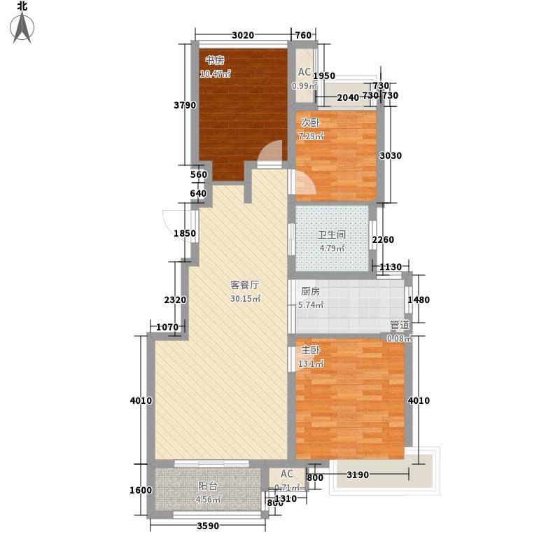 复地公园城邦89.42㎡二期A1户型3室2厅1卫