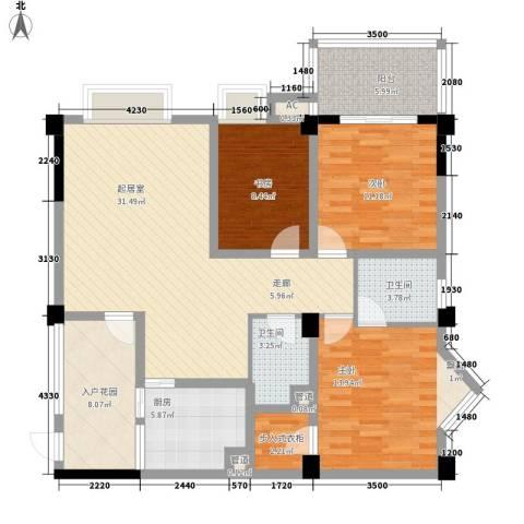 香木林加州国际3室0厅2卫1厨114.00㎡户型图