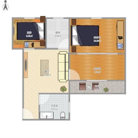 水霞小区1室1厅1卫1厨64.00㎡户型图