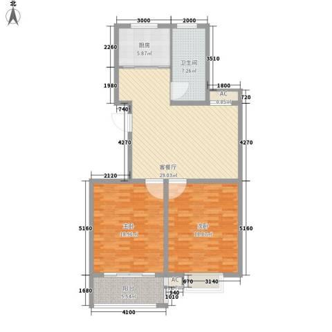 华夏太阳城2室1厅1卫1厨98.00㎡户型图