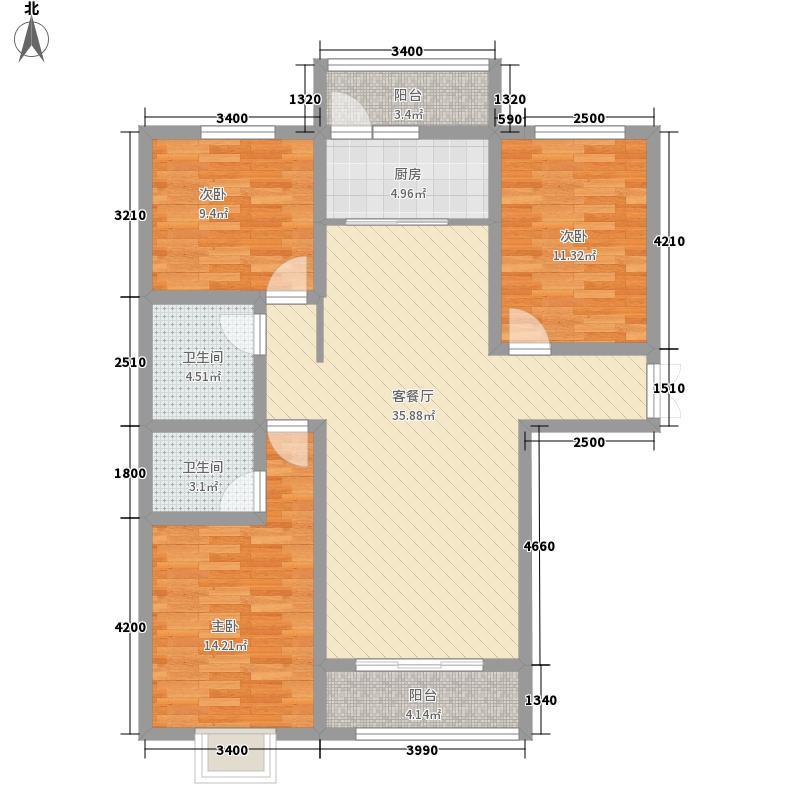 名城首府126.00㎡D3户型3室2厅2卫1厨