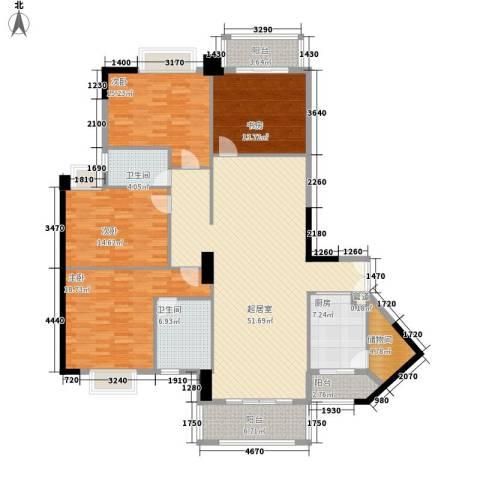 保利香槟花园4室0厅2卫1厨208.00㎡户型图