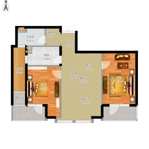 绿城御园2室1厅1卫1厨122.00㎡户型图