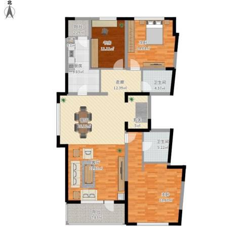 万科柏翠园3室1厅2卫1厨188.00㎡户型图