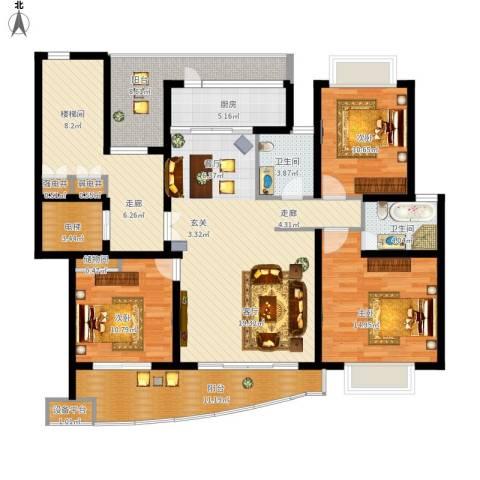 香榭水岸四期公寓3室1厅2卫1厨177.00㎡户型图