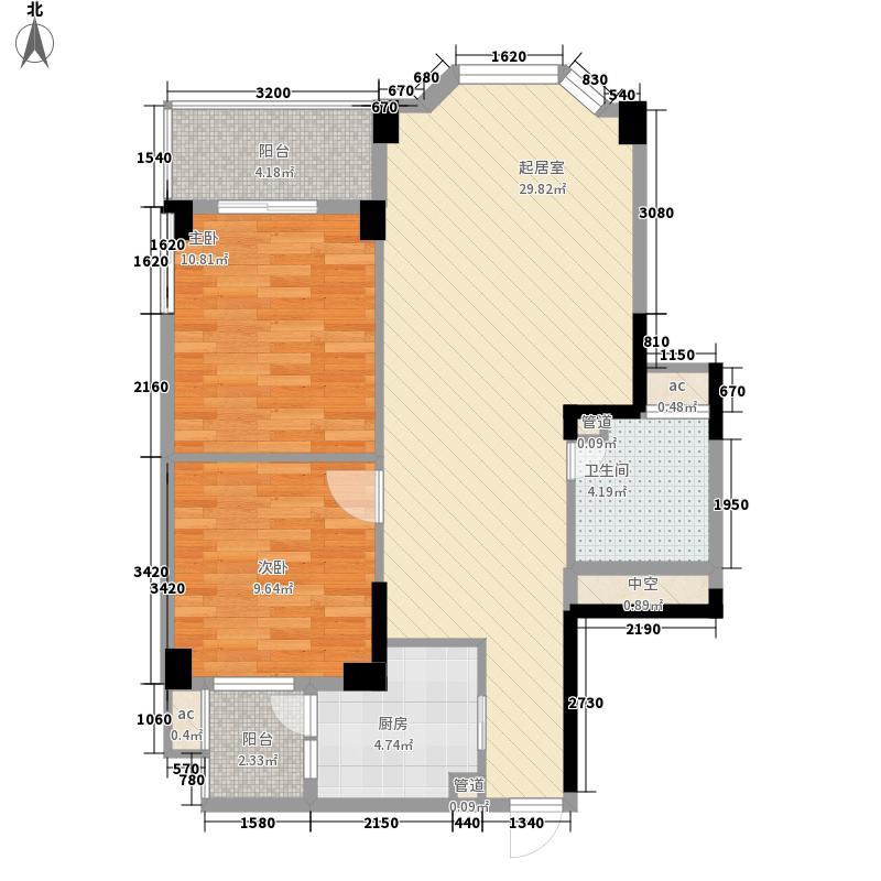 东润豪庭92.00㎡一期D2户型2室2厅1卫1厨