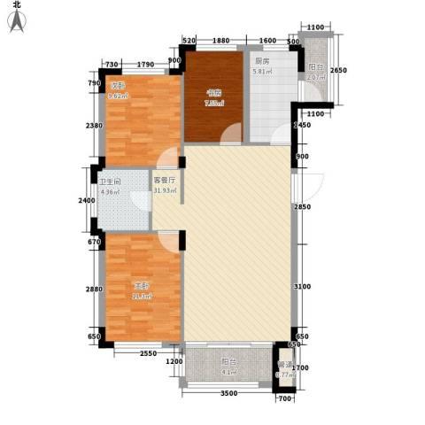 飞悦经典3室1厅1卫1厨108.00㎡户型图