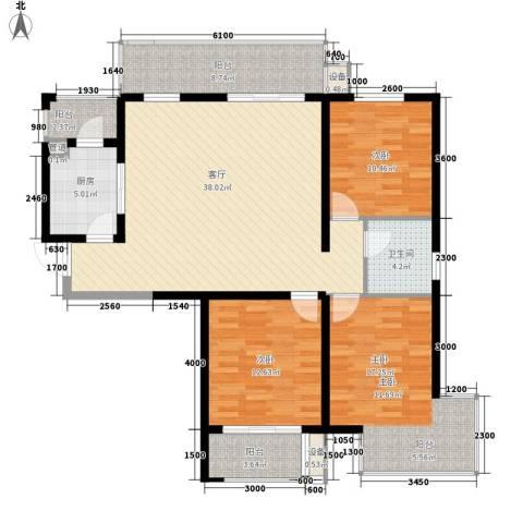 怡水花园三期3室1厅1卫1厨146.00㎡户型图