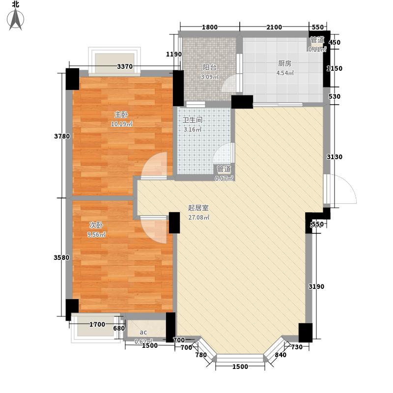 东润豪庭79.24㎡一期E1户型2室2厅1卫1厨