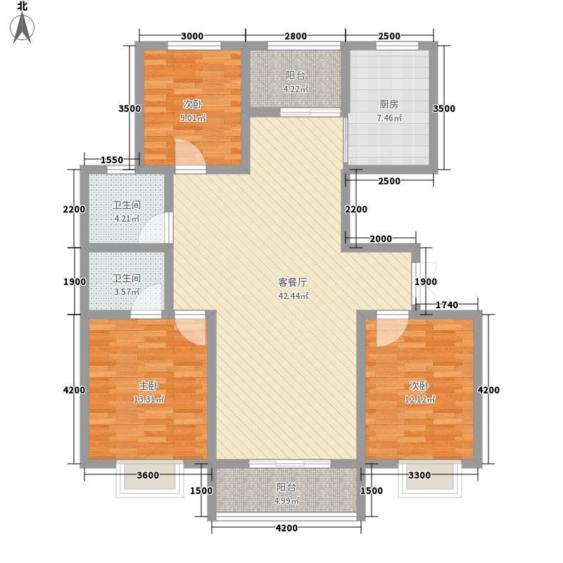 名城首府13.00㎡E1户型3室2厅2卫1厨